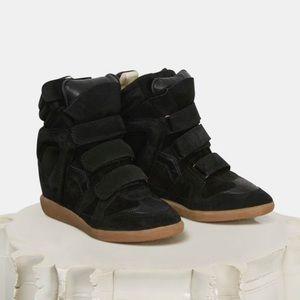Isabel Marant Black Bekett Suede Wedge Sneakers
